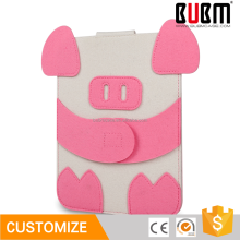 BUBM 7.9 inch Wool Felt Cute pink Pig design Sleeve Tablet Pouch