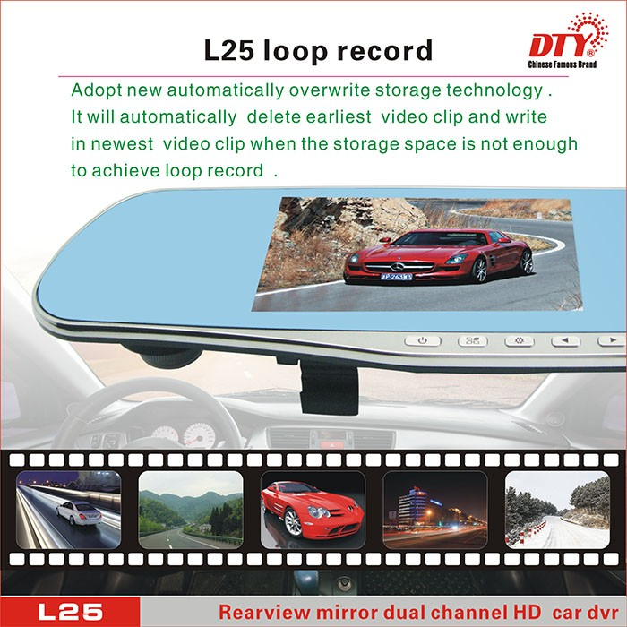 32GB rearview mirror dual camera full hd 2 channel vehicle blackbox car dvr,L25