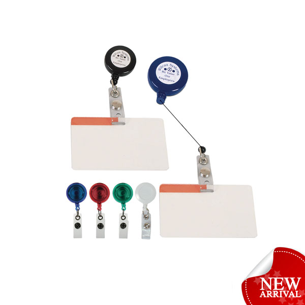 Retractable extendable id card name badge holder pin clip
