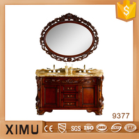 classical hand carved solid wood bathroom furniture with double basin