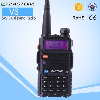 Hot sell two way radio ZASTONE V8 UHF/VHF dual band 6W walkie talkie with earpiece