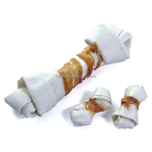 2017 most popular white rawhide dog chew bones dog treats with chicken manufactured in China