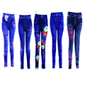 Lady's sexy slim print flower denim jegging
