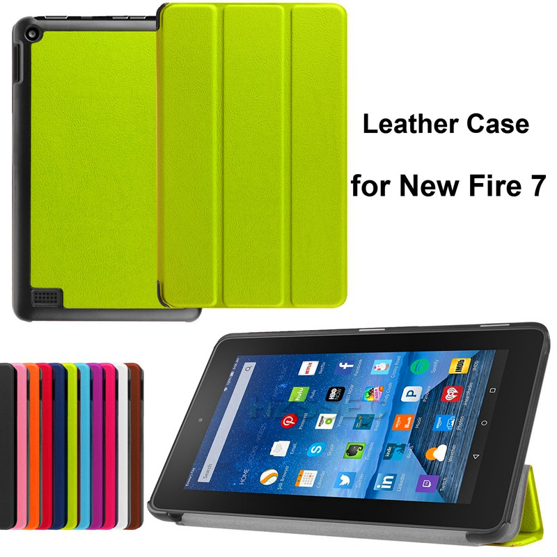 3-Folding Tablet Silicon Cover Anti Dust Leather Case For Amazon Kindle Fire 7 Tabelt Case 7 Inch Armor Defender (Green)