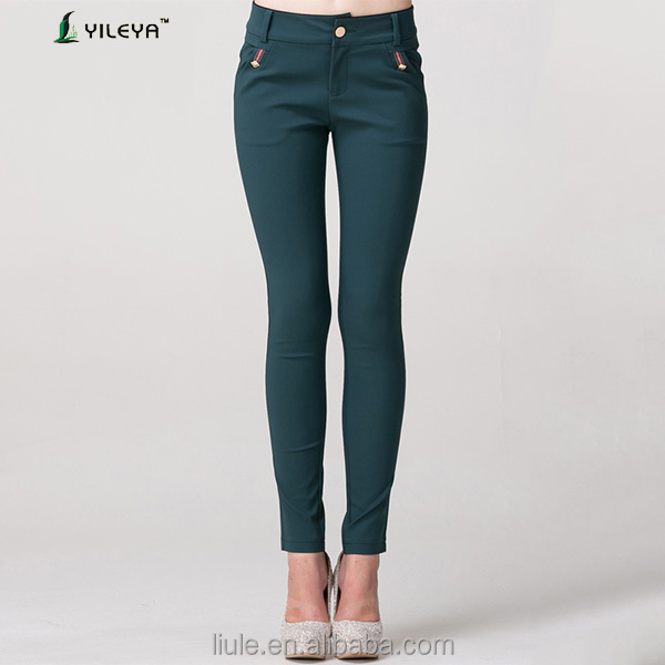 elegant women casual high waisted slimming pants with side pockets