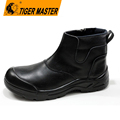 Black genuine leather no lace fashion work safety shoes with zipper
