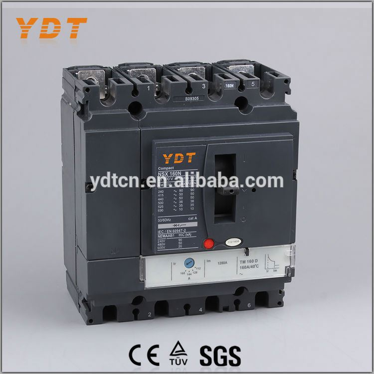 YDT electric and thermal magnetic tripping device mccb cnsx 4p 160n, electrical breaker