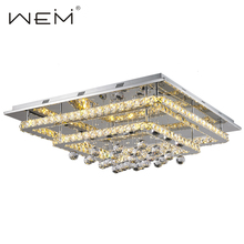 UL/CUL/CE listed Decoration light square shape two tier modern ceiling lamp Led Crystal Ceiling lighting
