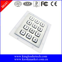 Vandal proof 12 full travel keys metal numeric keypad