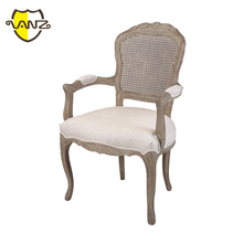 Durable Linen Upholstered Rattan Back Wooden Armchair Master Home Furniture Antique Chair Styles Pictures