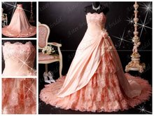 real photo Quinceanera dress Superior quality New design exquisite lace pink wedding dress RB062