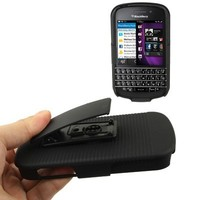 Wholesale Black Plastic Case with Belt Clip Stand for Blackberry Q10