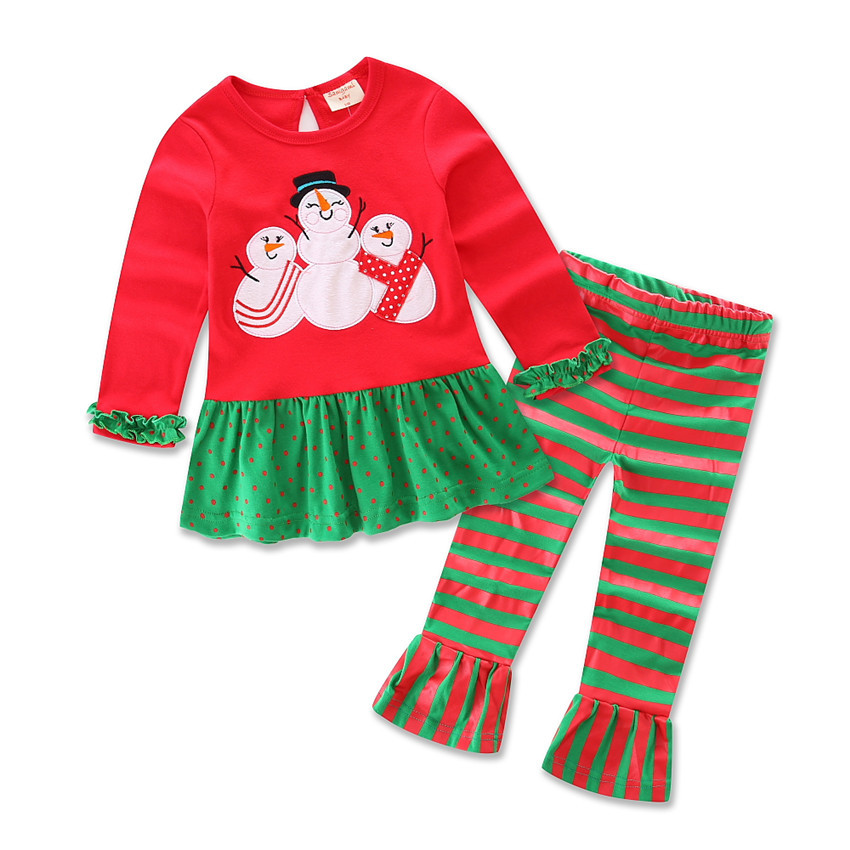 boutique girl clothing ruffle girl pajamas christmas wholesale kids clothing set