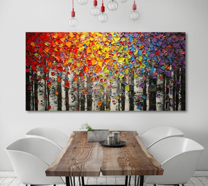 Hand Made Red Knife Flower Paintings in Acrylic Oil Painting For Wall Decor Living Room