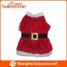 Hot Selling Cute Dog Sequin Santa Costume Dog Apparel Products