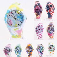 China supplier new products flower color wholesale geneva watch china ,lady wholesale geneva watch