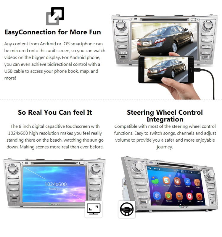EONON GA8164 Special for Toyota Camry/Aurion Android 7.1 2GB RAM 8 inch Touch Screen Car DVD GPS Navigation