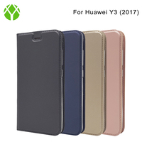 Top Quality PU Leather Magnetic Flip Cover Case for Huawei Y3 2017
