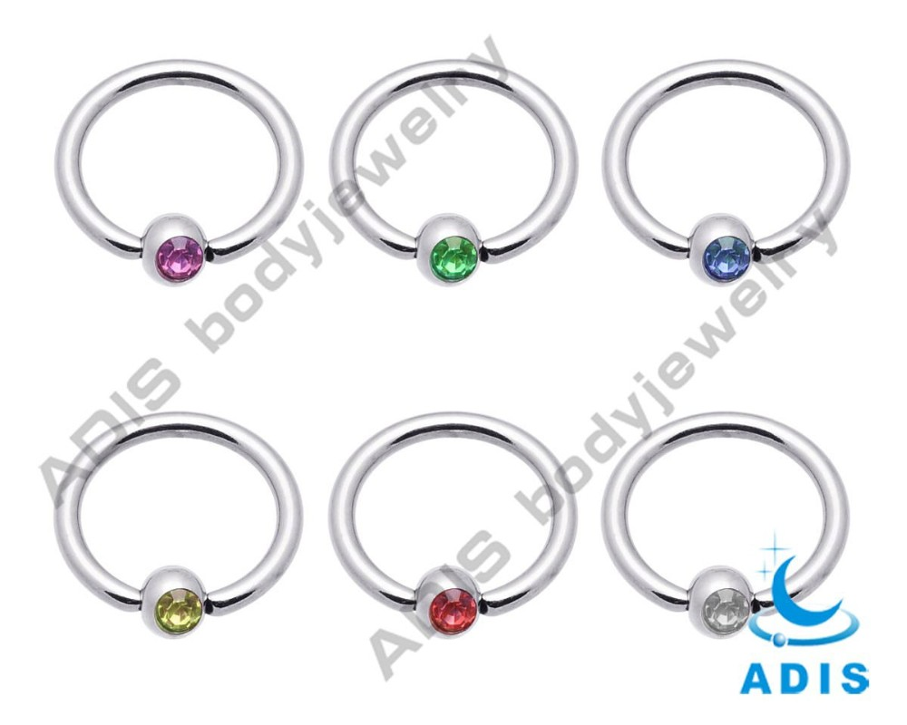 Stainless steel custom gem captive bead gold nose piercing