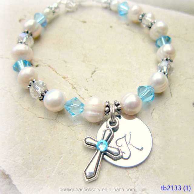 Children's Aquamarine Crystal Cross Pearl Birthstone Jewelry Bracelet. 12mm disc