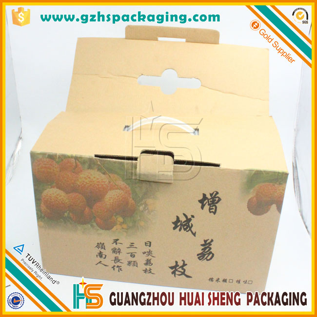 Guangzhou Lowest Price China Corrugated Paper Fruit Packing Box/Litchi Packaging Box