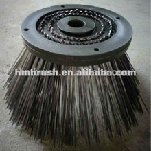 Plastic base steel wire gutter broom for street sweeper machine