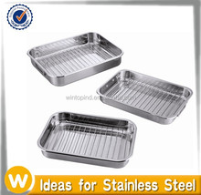 Stainless Steel Rectangular Roaster / Roasting Pan with wire rack