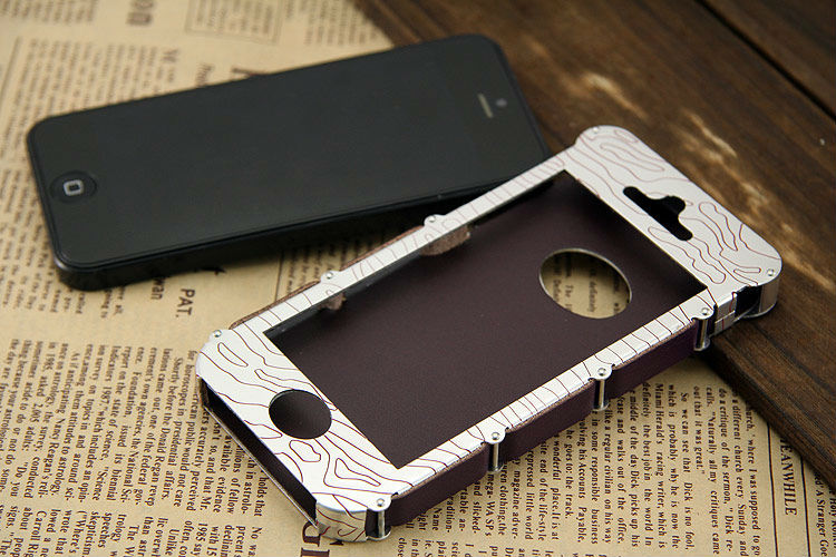 In stock Showkoo Armor aluminum phone case for iphone 5c/5s/5 with genuine leather lining