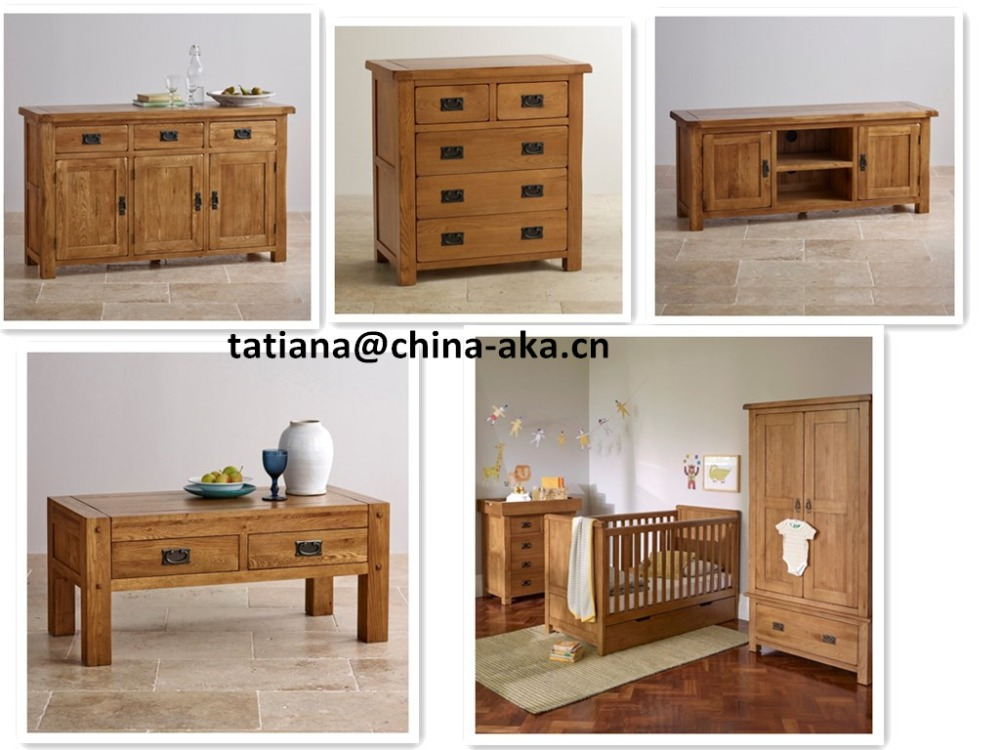 Oak solid wood living room Furniture and bedroom furniture sets
