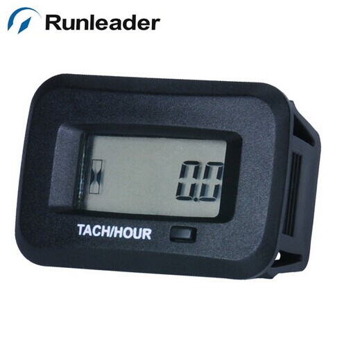 LCD waterproof digital RPM tachometer hour meter for ATV Chain saw lawn mower marine tractor trailer tiller chipper
