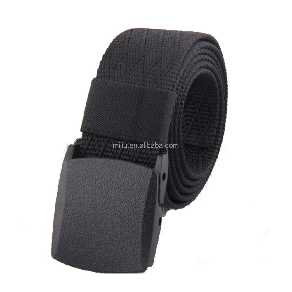 High Quality Fashion Woven Nylon Man Sport Belt with Plastic Buckle