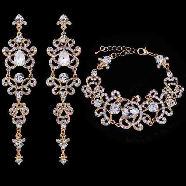 Minmin Charming Bridal Jewelry Sets for Women Crystal Bracelet Long Earrings for Wedding African Beads Jewelry Set EH166+SL032