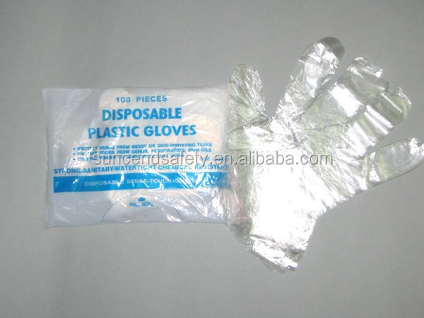 Food handing HDPE plastic disposable gloves for kitchen use