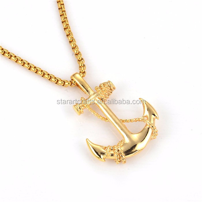 Dongguan Manufacturer Custom Stainless Steel Anchor Pendant Gold Wholesale P608G