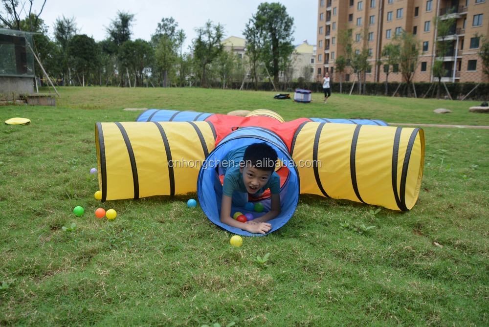 New design easy folding kids outdoor play tunnel