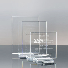 Wholesale fshion Blank square Crystal Glass Award plaque with custom logo for corporate gifts