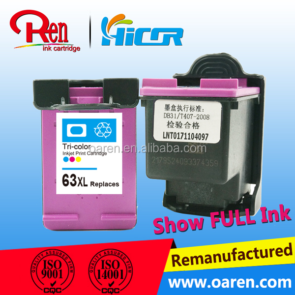 Consumable ink cartridges for hp 63XL color inkjet cartridges for Hp 63XL