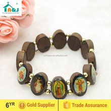Holy Catholic Saint Picture Wood Bead Rosary Bracelet