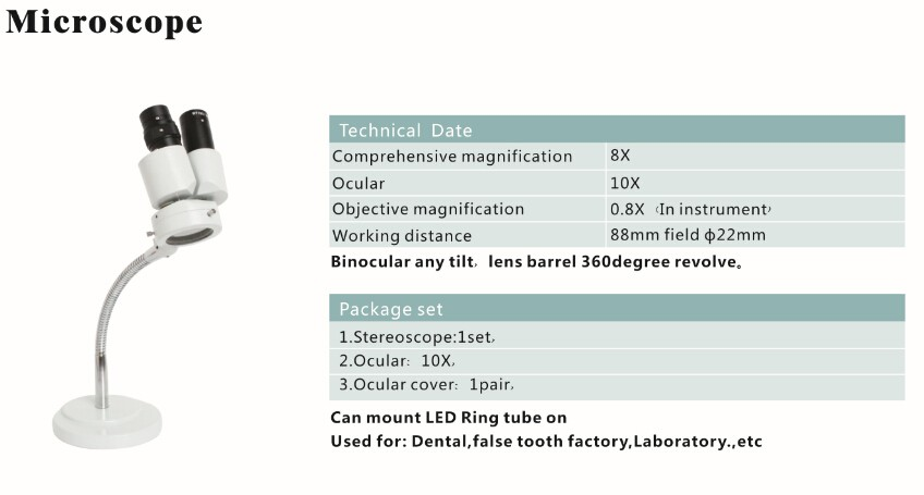 portable denture microscope with LED light source 8x 10x 20x