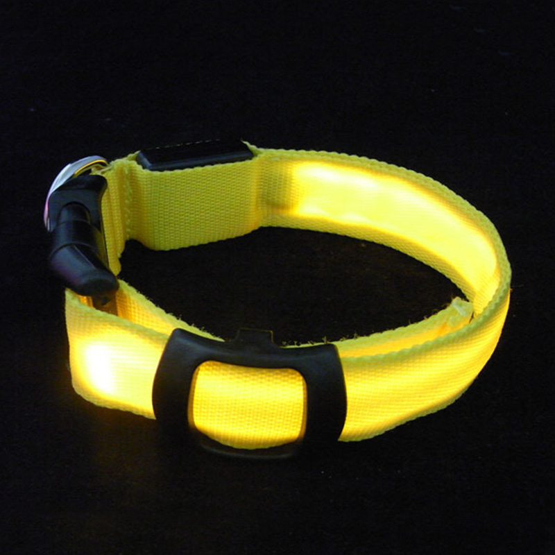 Double-sided solid color high-quality nylon LED pet light collar Support customized pet dog collar