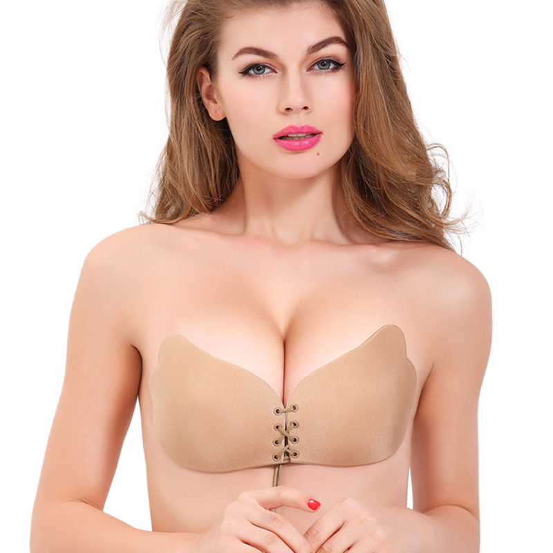 OEM 2016 Hot Nude Sexy Invisible Nude Silicone Backless Strapless Ladies' Model Bra For Bikini