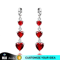 Best Expression for Love Three Red Crystal Heart Gold Earring for Women