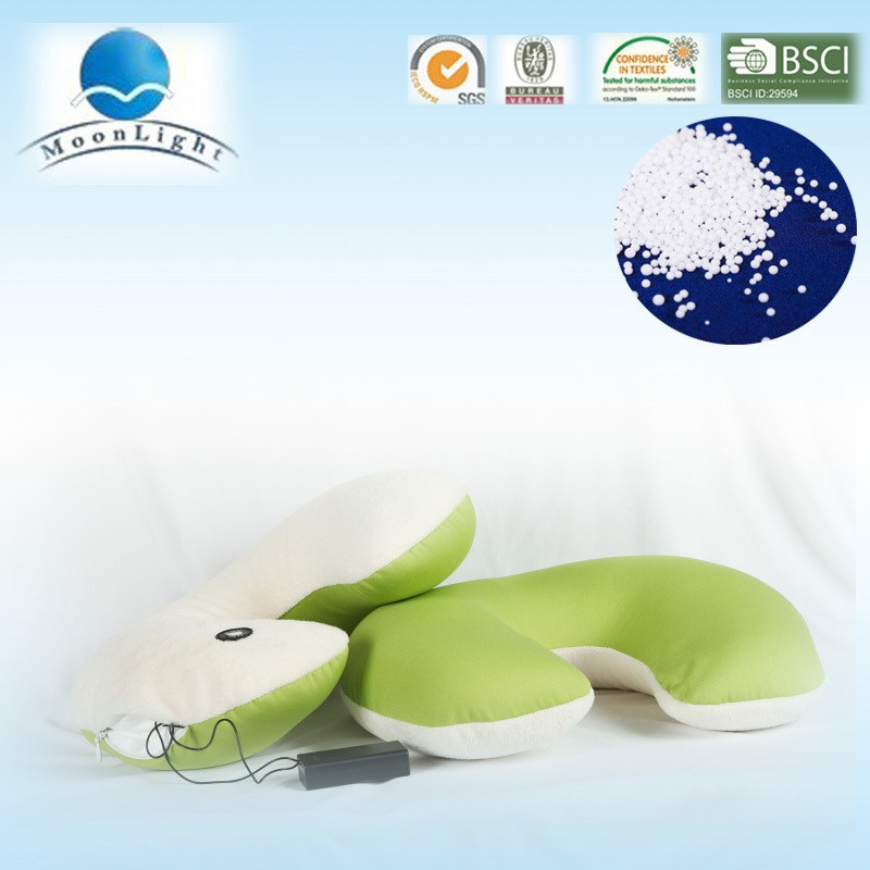 Hot selling green and white microbeads pillow with massager and musical