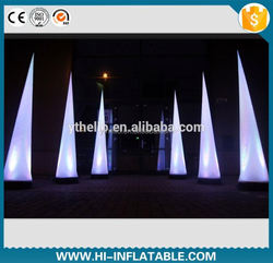 Wedding lighted decoration inflatable ivory/lighting right cone/inflatable LED pillar for sale