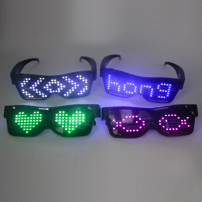 New Novelty  Smart App wireless Rechargeable LED Glasses Light UP Party Glasses