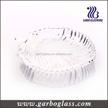 glass table ware plate glass leave shape snack dish