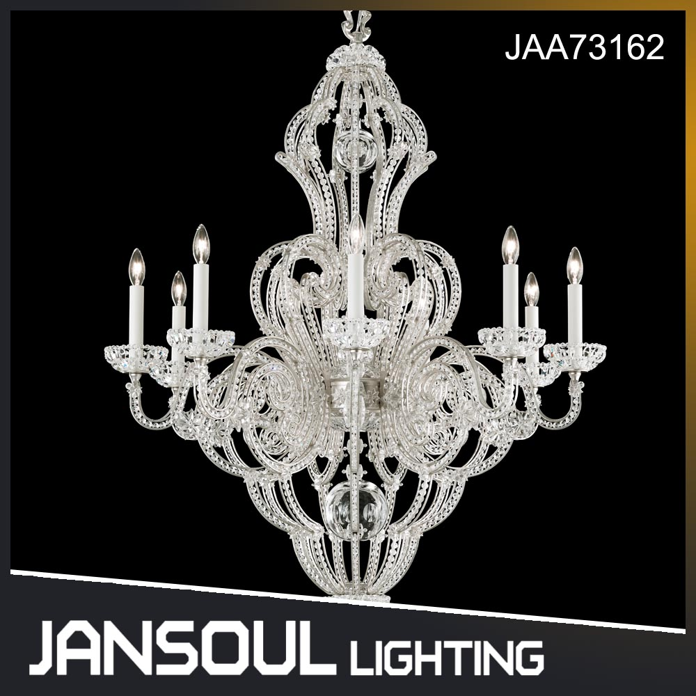 Jansoul contemporary European style italian white silver crystal metal chandelier lights