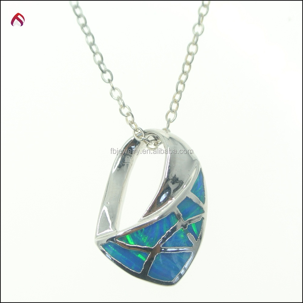 Blue created Opal 925 Sterling Silver Necklace Pendant