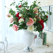Wholesale table silk artificial peony flower flores in the vase flower arrangement indoor decoration