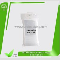 LDPE transparent ziplock bag with round hang hole